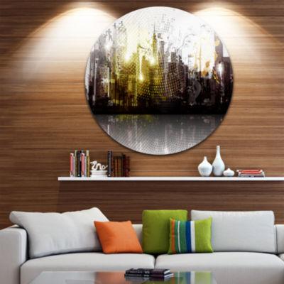 Design Art Grunge City Panorama Ultra Vibrant Cityscape Metal Circle Wall Art