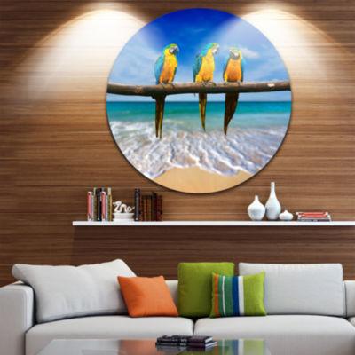 Design Art Blue Gold Macaws at Beach Seashore Photo Circle Metal Wall Art