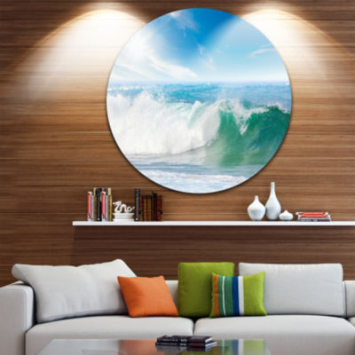 Design Art White and Blue Waves under Sun Ultra Vibrant Seascape Metal Circle Wall Art