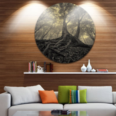 Design Art Tree with Big Roots on Halloween Landscape Photography Circle Metal Wall Art
