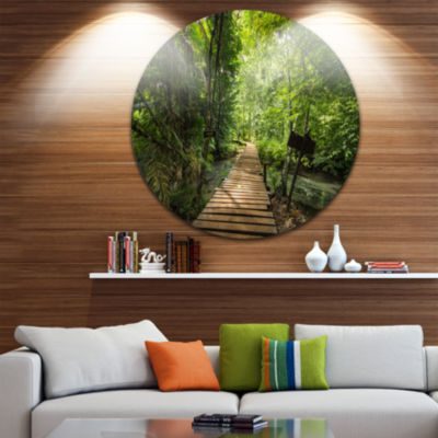 Design Art Forest Way to Emerald Pool Landscape Photo Circle Metal Wall Art