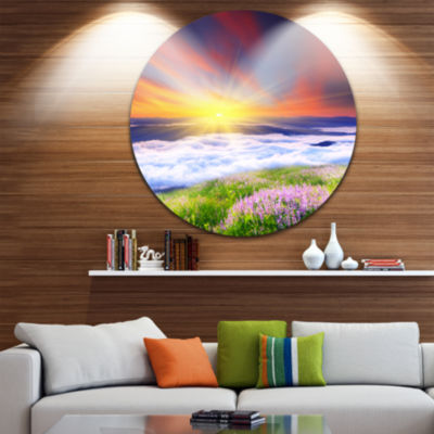 Design Art Sunrise with Blooming Flowers LandscapeCircle Metal Wall Art