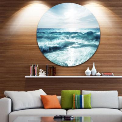Design Art Seychelles Beach at Sunset Ultra Vibrant Seascape Metal Circle Wall Art