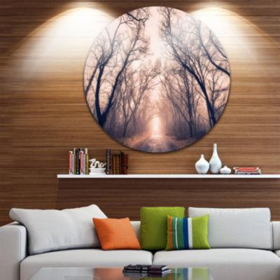 Design Art Road Through Mystical Dark Forest Circle Landscape Circle Metal Wall Art