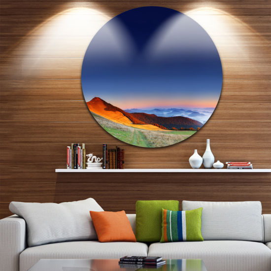 Design Art Majestic and Colorful Sunrise LandscapePhoto Circle Metal Wall Art