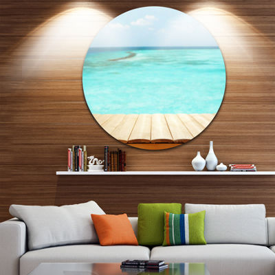 Design Art Wooden Planks on Sea Background Ultra Vibrant Seascape Metal Circle Wall Art