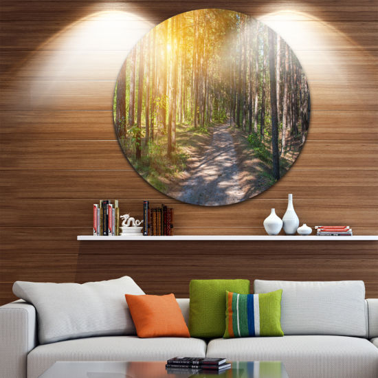 Design Art Thick Forest with Yellow Sun Rays Circle Landscape Circle Metal Wall Art