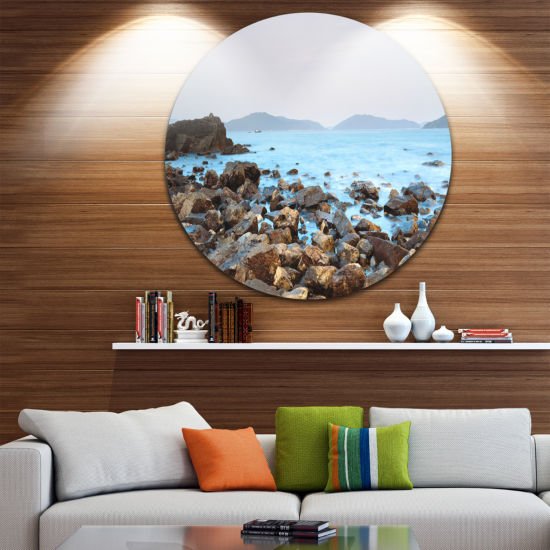 Design Art Stones on Shore of Port Shelter HK Ultra Vibrant Large Seashore Metal Circle Wall Art