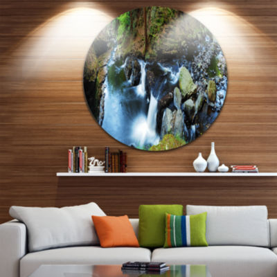 Design Art Creek with Hiking Trail Panorama Landscape Photography Circle Metal Wall Art