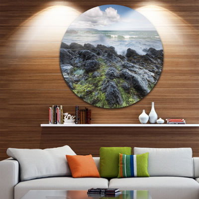 Design Art Rocky North Ireland Seashore Photography Circle Metal Wall Art