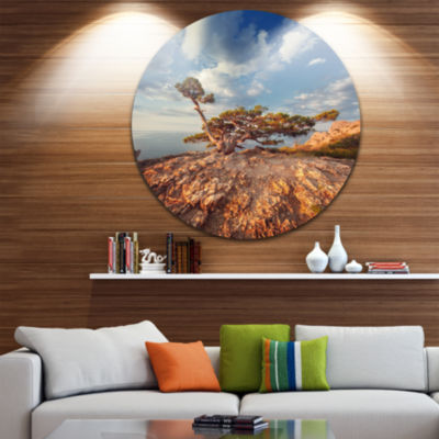 Design Art Sunrise with Old Tree at Peak LandscapePhoto Circle Metal Wall Art