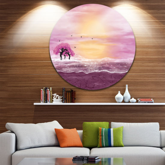 Design Art Water and Pink Trees in Desert Landscape Circle Metal Wall Art