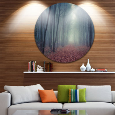 Design Art Retro Style Misty Path in Forest Landscape Photography Circle Metal Wall Art