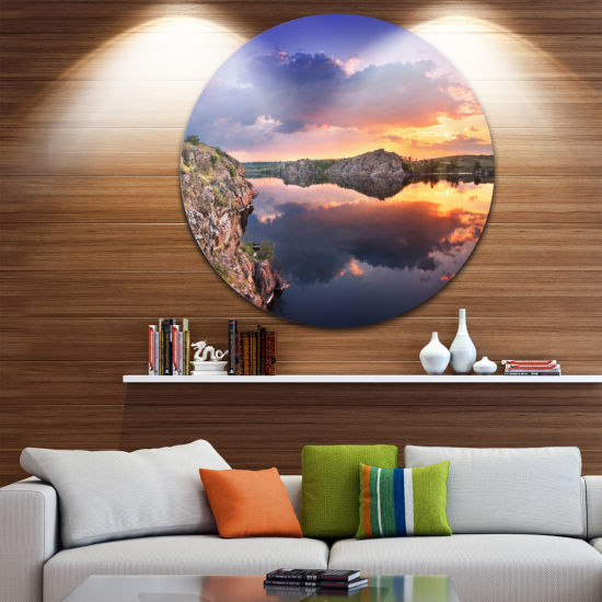 Design Art Large Summer Clouds Reflection Landscape Photography Circle Metal Wall Art