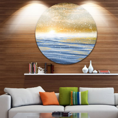 Design Art Sunset Over the Sea with Snow Skyline Photography Circle Metal Wall Art