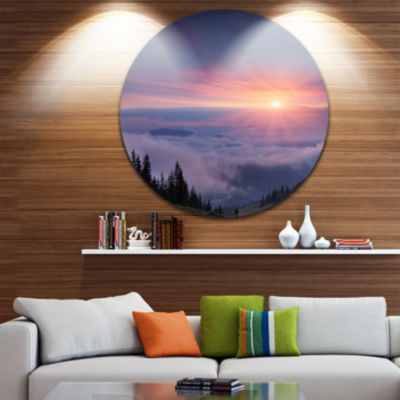 Design Art Sunrise in Purple Sky Over Mountains Landscape Photography Circle Metal Wall Art