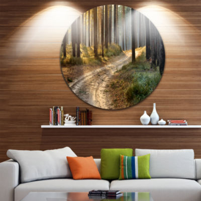 Design Art Road in Thick Morning Forest LandscapePhoto Circle Metal Wall Art