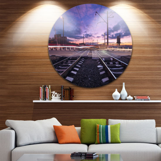 Design Art Rail Crossing with Blurred Car Lights Cityscape Photo Circle Metal Wall Art