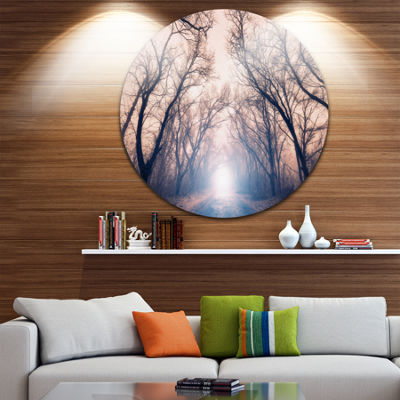 Design Art Mysterious Sunlight in Forest LandscapePhoto Circle Metal Wall Art