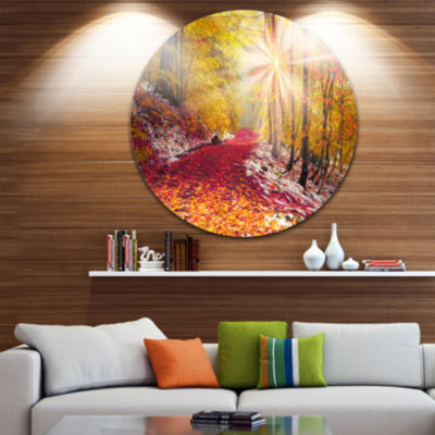 Design Art Bright Yellow Sun in Alpine Forest Landscape Photography Circle Metal Wall Art