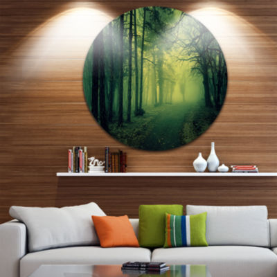 Design Art Green Light in Thick Mist Forest Landscape Photography Circle Metal Wall Art