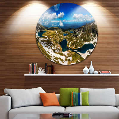 Design Art Bright Blue Sky Over Seven Rila Lakes Ultra Vibrant Landscape Metal Circle Wall Art
