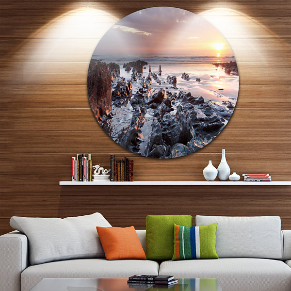 Design Art Sunset at Woolacombe Bay Devon UK UltraVibrant Large Seashore Metal Circle Wall Art