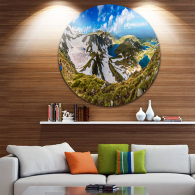 Design Art Clouds Over Seven Rila Lakes Ultra Vibrant Landscape Metal Circle Wall Art