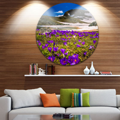 Design Art Blooming Crocus Flowers in Rila Mountains Ultra Vibrant Landscape Metal Circle Wall Art