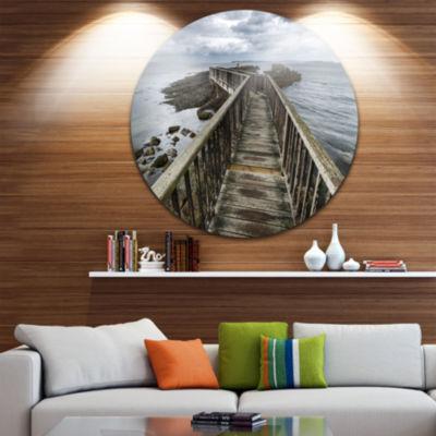Design Art Wooden Pier on North Irish Coastline Ultra Vibrant Sea Bridge Metal Circle Wall Art