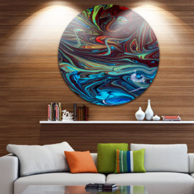 Design Art Red Blue Abstract Acrylic Paint Mix Ultra Vibrant Abstract Metal Circle Wall Art
