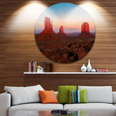Design Art Sunset in Monument Valley Ultra VibrantLandscape Metal Circle Wall Art