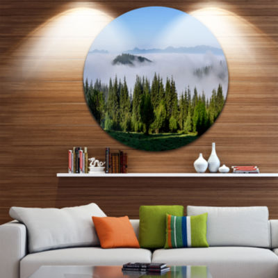Design Art Green Trees and Fog Over Mountains Ultra Vibrant Landscape Metal Circle Wall Art