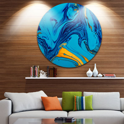 Design Art Soft Blue Abstract Acrylic Paint Mix Ultra Vibrant Abstract Metal Circle Wall Art