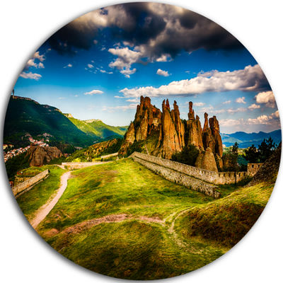 Design Art Belogradchik Fortress and Cliffs UltraVibrant Landscape Metal Circle Wall Art