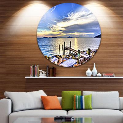 Design Art Makeshift Wooden Pier into the Sea Ultra Vibrant Large Seashore Metal Circle Wall Art