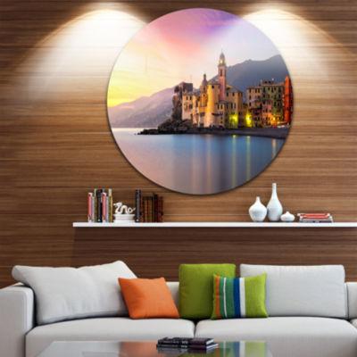 Design Art Old Mediterranean Town at Sunrise UltraVibrant Large Seashore Metal Circle Wall Art