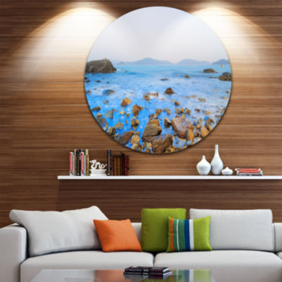 Design Art Stony Port Shelter Beach Hong Kong Ultra Vibrant Large Seashore Metal Circle Wall Art