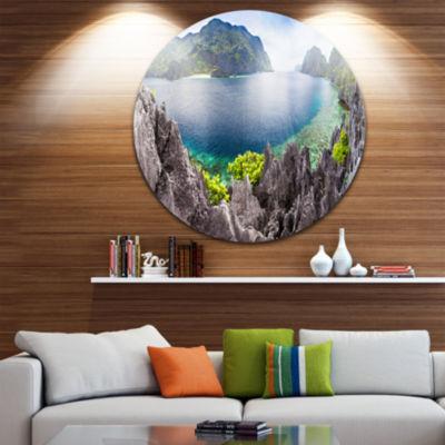 Design Art The Lagoon Panorama Ultra Vibrant Landscape Metal Circle Wall Art