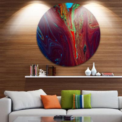 Design Art Dark Red Abstract Acrylic Paint Mix Ultra Vibrant Abstract Metal Circle Wall Art