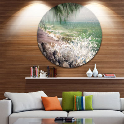 Design Art Rocky Seashore with White Waves Ultra Vibrant Large Seashore Metal Circle Wall Art