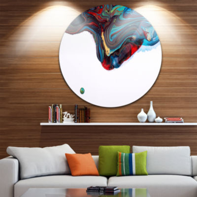 Design Art Multi Color Abstract Acrylic Paint MixUltra Vibrant Abstract Metal Circle Wall Art