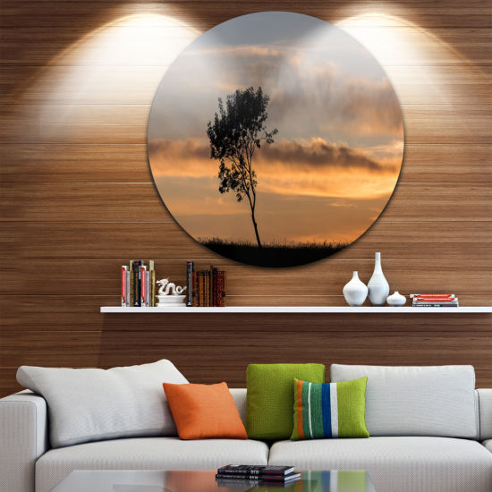 Design Art Lonely Tree Silhouette Leftwards UltraVibrant Landscape Metal Circle Wall Art