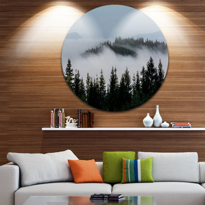 Design Art Dark Trees and Fog Over Mountains UltraVibrant Landscape Metal Circle Wall Art