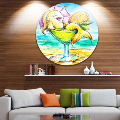Design Art Gold Fish Enjoying Holidays on Beach Ultra Vibrant Cartoon Animal Metal Circle Wall Art