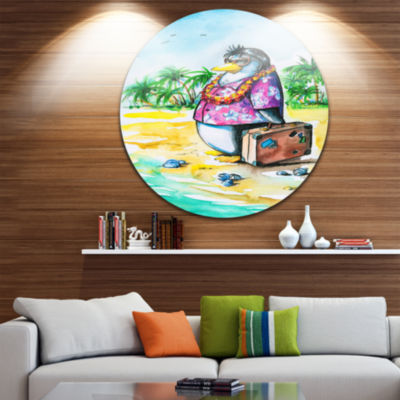 Design Art Penguin Enjoying Holidays on Beach Ultra Vibrant Cartoon Animal Metal Circle Wall Art