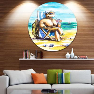 Design Art Turtle Enjoying Holidays on Beach UltraVibrant Large Seashore Metal Circle Wall Art