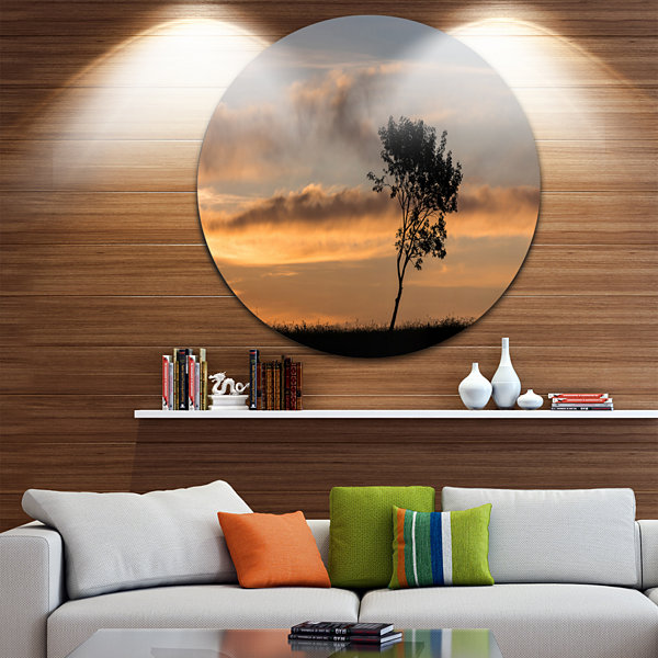 Design Art Lonely Tree Silhouette Rightwards UltraVibrant Landscape Metal Circle Wall Art