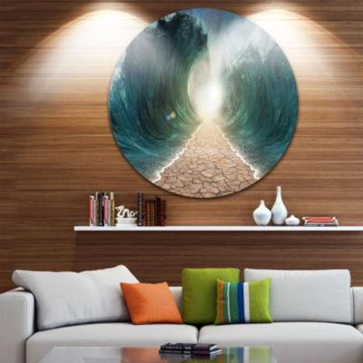 Design Art Pathway through the Parted Seas Ultra Vibrant Large Seashore Metal Circle Wall Art