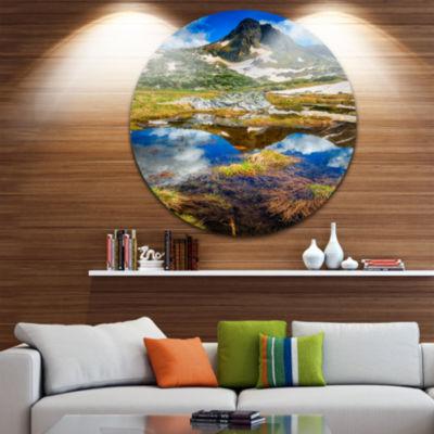 Design Art Rila Lakes District with Reflection Ultra Vibrant Landscape Metal Circle Wall Art